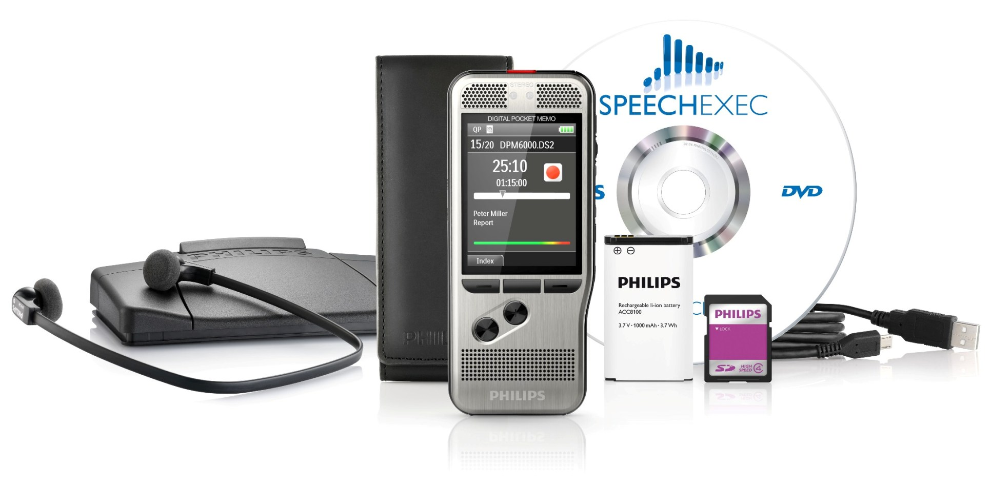 Philips Pocket Memo Dictation and Transcription set. DPM 6700 DPM4 Starter Kit by Grafimedia.eu
